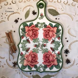 Доска кухонная разделочная «Розы»