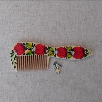Деревянная расческа гребень для волос с Петриковской росписью Луковка