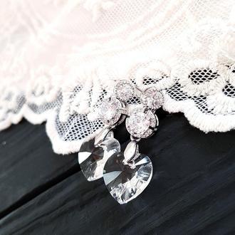 Сережки з серцями Swarovski та цирконами, колір сердець - на замовлення