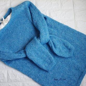 Поделиться:  Шикарный блестящий свитер из итальянского кид мохера и люрекса.