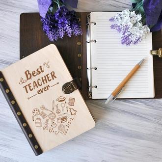 """Блокнот для записей """"Best teacher"""" А5 в деревянной обложке"""