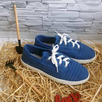 Вязаные кеды, кроссовки со шнуровкой