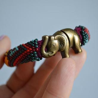 Браслет из бисера Индия, застежка слон бронза