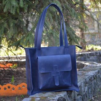 Женская кожаная сумка на плечо, Сумка шоппер
