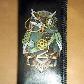 Черный кошелек Сова стимпанк, длинный кошелек, кошелек с совой