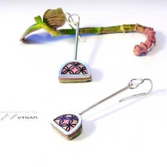 серебряные серьги Rosé mood в цвете пудра с винтажным принтом