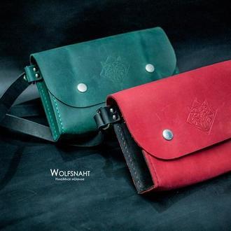 Шкіряна поясна сумка-бананка зелена/червона