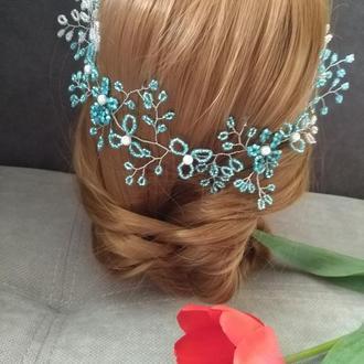 Женственная веточка в голубых тонах аксессуар для невесты