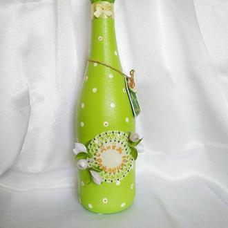 Оформление бутылки шампанского, вина под заказ