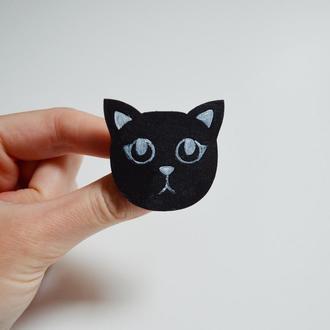 Дерев'яний значок-брошка Кіт