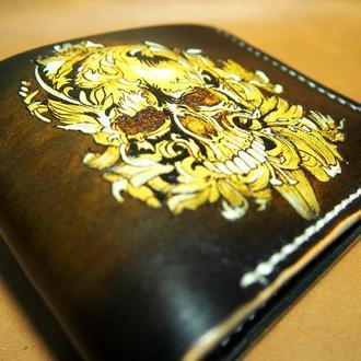 Мужской кошелек, кожаный бумажник, кожаное портмоне череп с лилиями