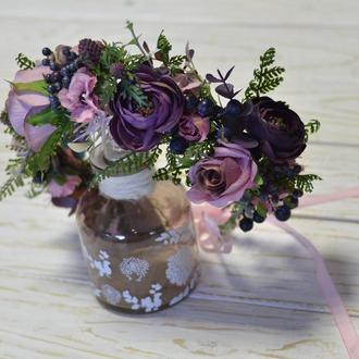 Венок бохо розово-фиолетовый