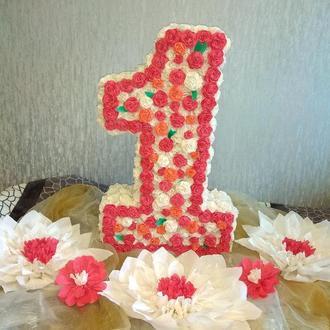 Цифра 1 один на день рождения, объемная, пушистая, большая,  очень красивая!