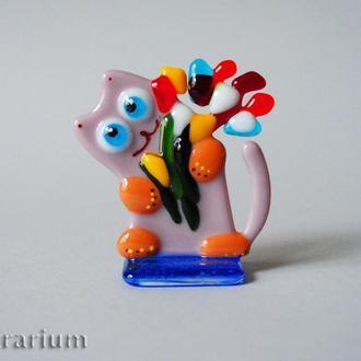 Фигурки из стекла «Коты и цветы».