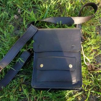 Мужская сумка через плечо винтаж,кожа