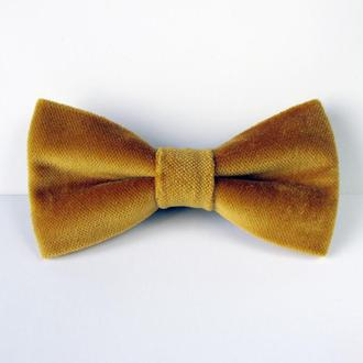 Бабочка велюр желтая, горчичная