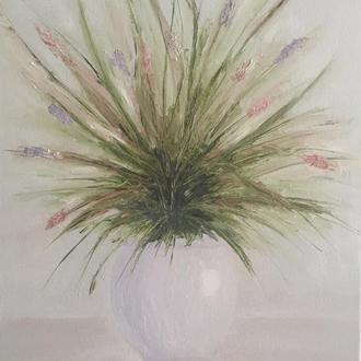 """Интерьерная картина маслом """"Полевые цветы"""" абстракция"""