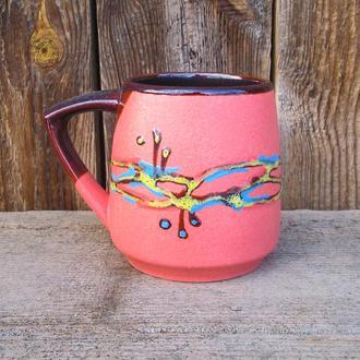 Кухоль 450 мл. декор Крайка рожевий