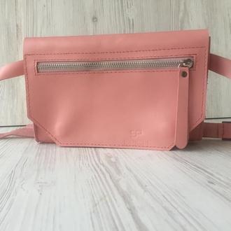 Кожаная поясная сумка Кайзер, розовая