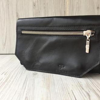 Кожаная поясная сумка, черная