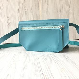 Кожаная поясная сумка голубая