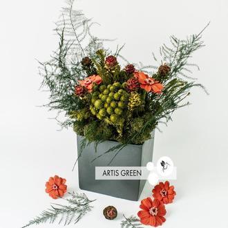 Композиция из стабилизированных цветов и растений «Mysterious»