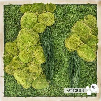 Картина со стабилизированным мхом и растениями «Частичка леса»