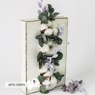 Декор из мха «Panel Mini White Cotton» со стабилизированными растениями