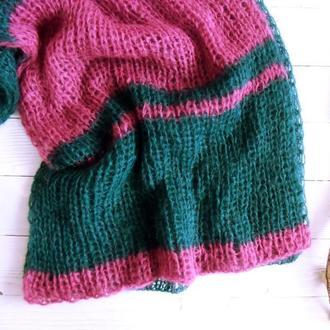 Вязаный шарф Альпаковый в полоску (темно-зеленый/малиновый)