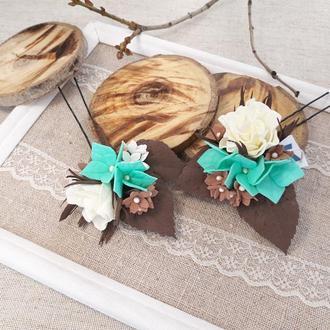 Шпильки для волос с цветами гортензия и роза. Мята+шоколадный+ молочный
