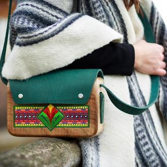 """Женская деревянная сумка """"Рождественские огоньки"""""""