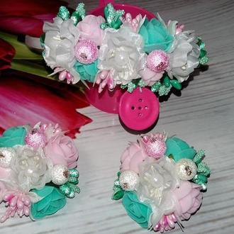 Набор:ассиметричный ободок и цветочные резиночки