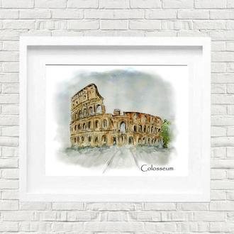 Постер. Акварельная иллюстрация. Колизей. Архитектура Древнего Рима. Италия.