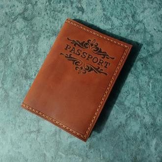 Кожаная обложка на паспорт, загранпаспорт с вензелями