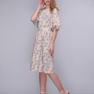 Платье персиковое с вырезом и завязкой на спинке
