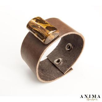 Кожаный браслет с натуральным янтарем!