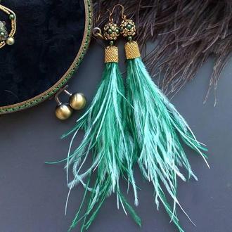Серьги-кисти из страусиных перьев