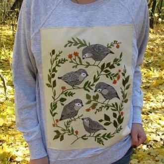 Свитшот ручная вышивка вышиванка свитер реглан толстовка худи