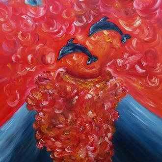 """Картина маслом на холсте """"Дельфины в вулкане"""" 50х70."""