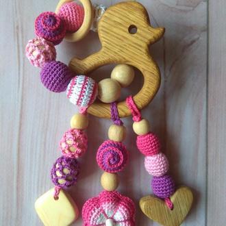 Развивающая игрушка прорезыватель грызунок деревянный девочке ручная работа Эко подарок малышу новор