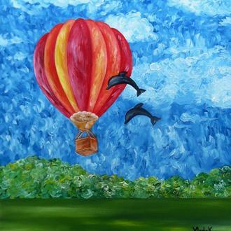 """Картина маслом на полотні """"Повітряна куля"""" 60х70"""