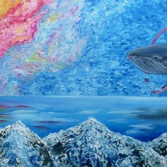 """Картина маслом на холсте """"Полет Кита"""" 50х110"""