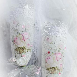Свадебны бокалы ′Roses cheby′