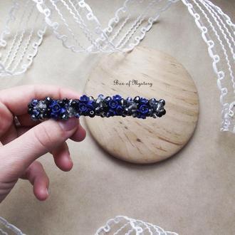 Темно синяя заколка с цветами, цветочное украшения для волос, подарок девушке, 10 см