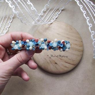 Заколка для волос с миниатюрными цветами, подарок для девушки, основа 10 см