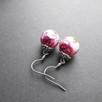 Серьги шарики с розами