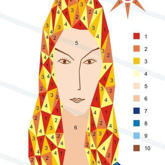 """Картина по номерам. """"Полигональный портрет в стиле Модильяни """". Цифровой комплект для начинающих"""