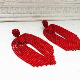 Червоні сережки-китиці, красные серьги-кисти, серьги-водопады