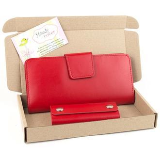 Подарочный набор №10 (красный): Кошелек + ключница