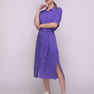 Платье-рубашка фиолетовое
